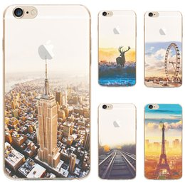TPU Soft Transparent Cases Landscape Eiffel Tower Ferris Whee Protectionl Covers For Apple iphone 7 6 6s Plus Phone Case Cover DHL Free