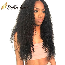 Brazilian Virgin Human Hair Lace Wigs Kinky Curly Lace Front Wigs Medium Cap with Combs Natural Color Medium Brown Lace Bellahair