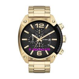 Wholesale Men s Overflow Black Dial Gold Steel Strap CHRONOGRAPH Analog Quartz Watch Original Box
