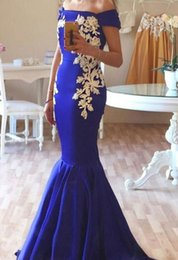 Cheap Royal Blue Mermaid Prom Dresses 2016 White Embroidery Off the shoulder Custom Made Formal Stain Party Dresses