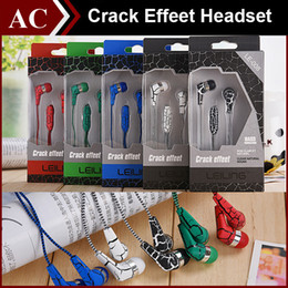 Wholesale 3 mm In ear Crack Effeet Bass Earphone Stereo Headset Headphone with Wire Braid Cable Remote Mic Earbuds Retail Box For iPhone Samsung S6