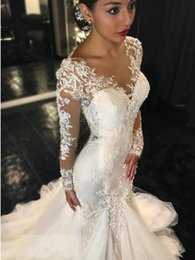 Ivory 2019 Lace Appliques Court Train Mermaid Wedding Dress long sleeve mermaid bridal gowns covered button free shipping