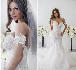 Wholesale 2016 Mermaid Long Wedding Dresses New Arrival Off Shoulder Detachable Short Sleeves Backless Beads Mermaid Tulle Sweep Train Bridal Dresses