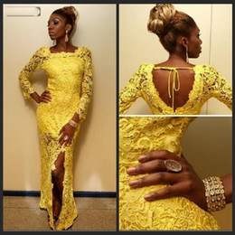 2016 Long Yellow Prom Dresses for Black Girl Prom Side Slit Floor Length Long Sleeve African Nigerian Lace Evening Gowns