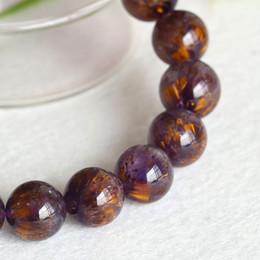 Natural Genuine Gold Purple Titanium Cacoxenite Finish Stretch Men Bracelet Round Big Beads Gemstones 12mm 04304