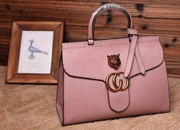 Wholesale Women Pink GG Marmont leather top handle bag Double G Feline metal detail Flap Closure Antique gold metal detail Cotton linen lining