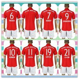 Wholesale New Product Uniforms Kit Bayer Munich Lewandowski Muller Boateng Gotze Red Home Soccer Jersey Full Shirt