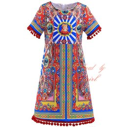 Wholesale 2016 Pettigirl Summer Italy Flavor Girl Dresses With Colorful Patterns Print Tassels Style Short Sleeves Baby ChildreN Wear GD90325 F