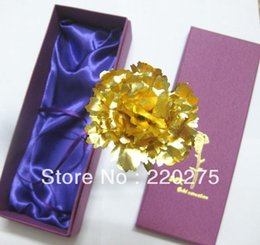 24k foil golden carnation families gold Dipped Plated Foil Carnation for Mother's Day Wedding Bridal Decoration Gifts Free Box 160406#