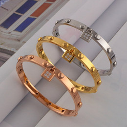 Luxury Lock Charms Bracelet Shining Titanium Bangle Exquisite Stainless Steel Cuff Bracelets for Women Jewelry Valentine's Day Gift