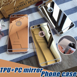Wholesale For Iphone Mirror Case IPhone Plus S Plus Mirror Back S7 Shock Absorption TPU Bumper Anti Scratch Bright Reflection Protective Case