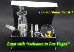 Wholesale DHL mm mm Bong Micro NC Kit Glass Pipe With Style quot Welcome To Las Vegas quot Logo Oil Rig Water Bongs Nector Collector Kit