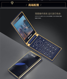 Wholesale Newman Newman W2018 g mobile unicom mobile phone business clamshell old man Double card double stay blue and gold
