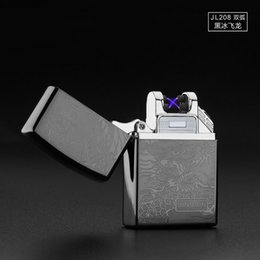Wholesale 50PCS arc lighter Double Pulsed Arc Slim Windproof cigarette cigar Lighter Personality Electronics usb novelty smoking Lighter Free send DHL
