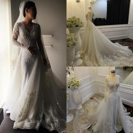 Gorgeous Long Sleeves Overskirts Wedding Dresses 2019 V Neck Lace Applique Beads Tulle Court Train Newest Bridal Gowns With Detachable Skirt