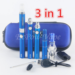 Wholesale 3in1 Vape Kit Wax Globe Tank Vaporizer Wee Atomizer ELiquid Clearomizer eVod Battery All IN E Cig Vaporizer Starter Kit Zipper Pack
