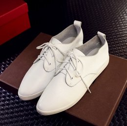Wholesale 2016 spring and autumn tie pointed toe skin leather flat casual shoes white leather shoes