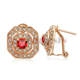Yoursfs High Qulity Square Clip Earrings For Women Girl Rose Gold Color Austrian zircon Earring Fashion Jewelry Cuff Earrings
