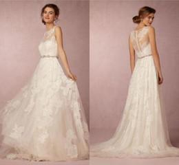 Romantic Bohemian Wedding Dresses BHLDN Bateau Sleeveless A Line Lace Wedding Dress For Beach Bridal Gown Custom Made