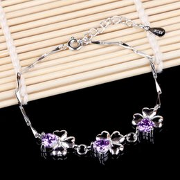 Love is still authentic Korean jewelry happiness Clover Amethyst 925 sterling silver bracelets wholesale trade