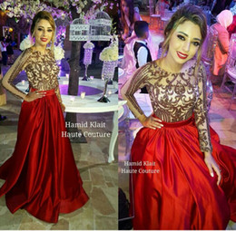 2016 Fast ShippingTulle Long Sleeve Backless A Line Red Beaded Sexy african Prom Dresses long Party Evening Dresses