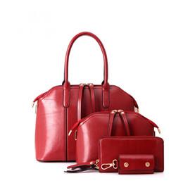 Women 4 Pieces Tote Bag Pu Leather Handbag Leatherette Handbags Clutches Shoulder Purse Bags Set for ladies