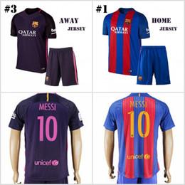 Wholesale 16 Men s Soccer Suit Barcelona Home Away Soccer Jersey MESSI ARDA A INIESTA SUAREZ I RAKITIC etc football shirt with shorts