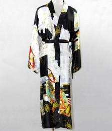 Wholesale Promotion Black Silk Long Robe Chinese Vintage Women Rayon Nightwear Kimono Yukata Bath Gown Plus Size S M L XL XXL XXXL NR035