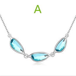 Wholesale 2016 hot women cheap fashion jewelry authentic Swarovski crystal pendant necklace elements listening to the sea