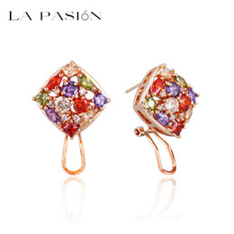 LA PASION Mona lisa 18k Rose Gold Plated Multicolor and Multishape CZ Earrings for women and lady