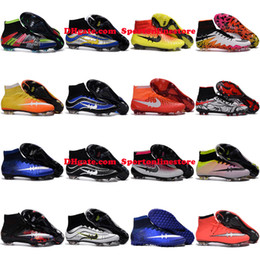 Wholesale Mens Football Boots Hypervenom Phantom ii Magista Obra Mercurial Superfly CR7 FG IC TF AG Indoor Soccer Cleats High Ankle Soccer Shoes