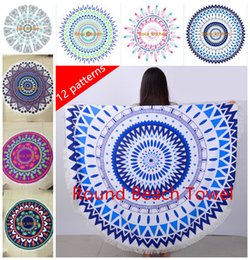 superfine fiber 150cm round beach towel with tassels High quality Knitted beach towels for adults 2016 New 12 patterns round towel