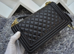 Wholesale Medium 25CM Classic Style Le Boy Genuine Black Lambskin Real Leather Plaid Flaps Shoulder Chain Bags Gold Silver