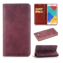 luxury Magnetic Crazy horse wallet card holder flip leather case cover skin shell for Samsung Galaxy A5 2016 A510 fashion case