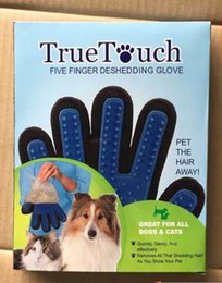 Wholesale 2016 True Touch Deshedding Glove for Gentle and Efficient Pet Dog Cat Grooming with package