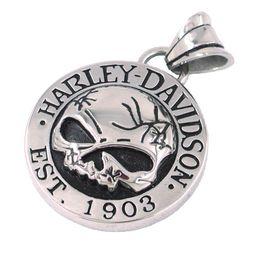 Wholesale Cool Silver Skull Biker Pendant Stainless Steel Jewelry Classic Motor Biker Skull Men Pendant SJP0059