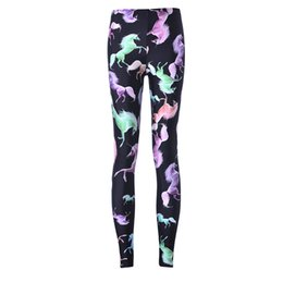 Wholesale NEW Arrival Sexy Girl Women Cartoon Rainbow unicorn Pegasus D Prints Running Elastic GYM Fitness Sport Leggings Yoga Pants