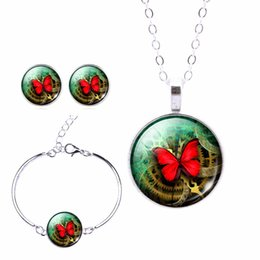 Wholesale 2016 Newest Silver Color Jewelry Butterfly Art Picture Pendant Necklace Stud Earrings Charm Bracelet Set Jewelry Sets