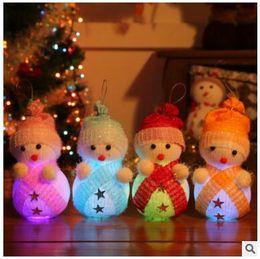 Wholesale DHL new Christmas tree decorations Gift Christmas Snowman Dolls Shiny Particle Lamp Christmas Tree Pendant Window Scene