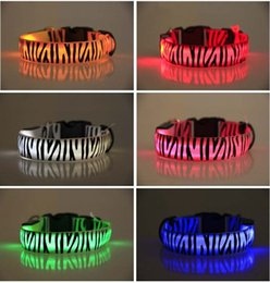 Wholesale 2016 Zebra pattern Nylon Pet LED Dog Collar Night Safety LED Flashing Glow LED Pet Supplies Dog Cat Wire mesh Collars BY DHL