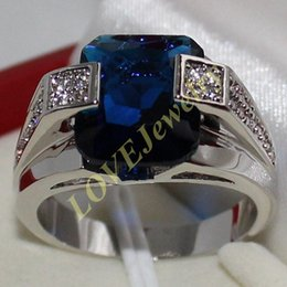 Men's 925 Silver Blue Sapphire CZ Gem Stone Emerald-cut Ring
