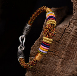 Original design Hand woven handmade colorful knot triple wrap linen silver lucky Chinese knot bracelet
