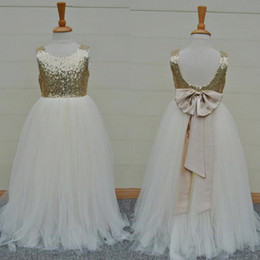 Wholesale Christmas Bows For Sale Cheap - Sparkly 2016 Hot Sale Gold Sequin Ivory Tulle Floor Length Flower Girls Dresses For Weddings Cheap Backless Bow Formal Party Gowns EN8164