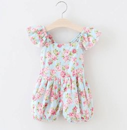 Wholesale Summer babies romper rose floral jumpsuits clothes Baby girls ruffle fly sleeve onesies kids plaid printed jumper shorts pants overall