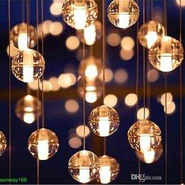 Wholesale G4 LED Crystal Glass Ball Pendant Lamp Meteor Rain Ceiling Light Meteoric Shower Stair Bar Droplight Chandelier Lighting AC110V V
