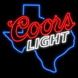 "Texas Coors Light Neon Sign Custom Real Glass Tuble Light Beer Bar Disco KTV Club PUB Display Store Advertisement Neon Signs 24""x24"""