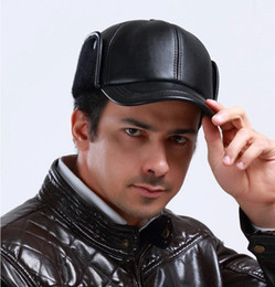 Wholesale man s new fashion winter warm fashion authentic leather sheep leather flat cap peaked cap black hat