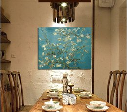 Wholesale Blossoming Almond Tree Oil Painting Of Vincent Van Gogh Reproduction Canvas Print Painting Wall Art Picture For Home Decoration cm No F