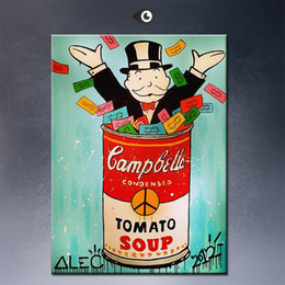 Wholesale Andy warhol Alec monopoly Graffiti art print on canvas for wall picture decoration oil painting for decorative movie poster