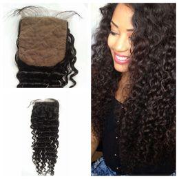 Wholesale Deep Curly deep wave Silk Base Closure Brazilian Virgin Human Hair Silk Top Closure Free Middle Part Silk Closure Bleached Knots